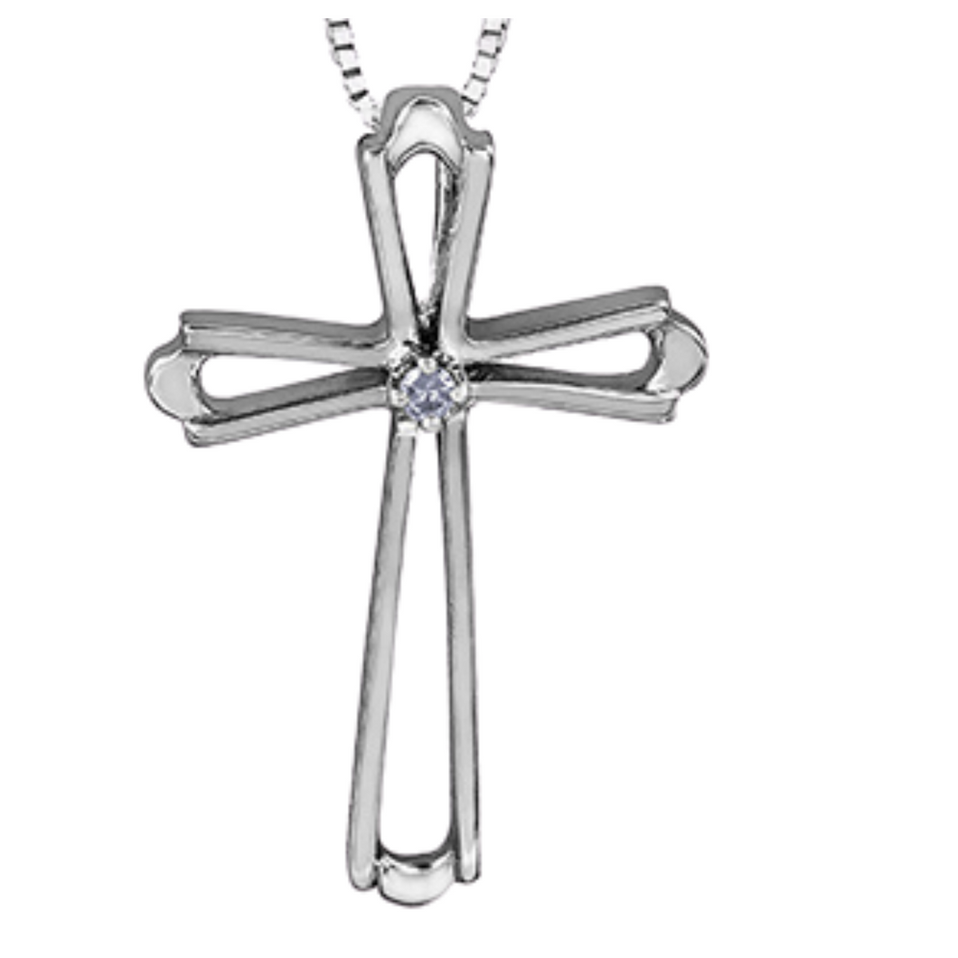 Forever Jewellery - White Gold Cross with Diamond Pendant