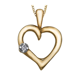 Yellow Gold Heart with Diamond Pendant