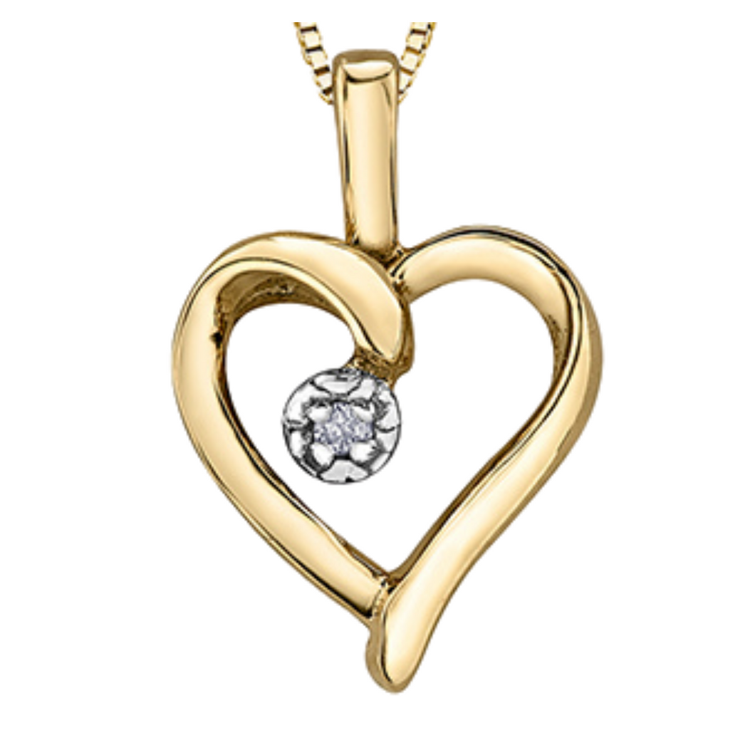 Yellow Gold Heart Pendant with Diamond