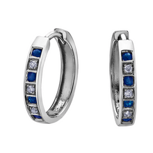 Load image into Gallery viewer, Gemstone & Diamond Huggie Earrings