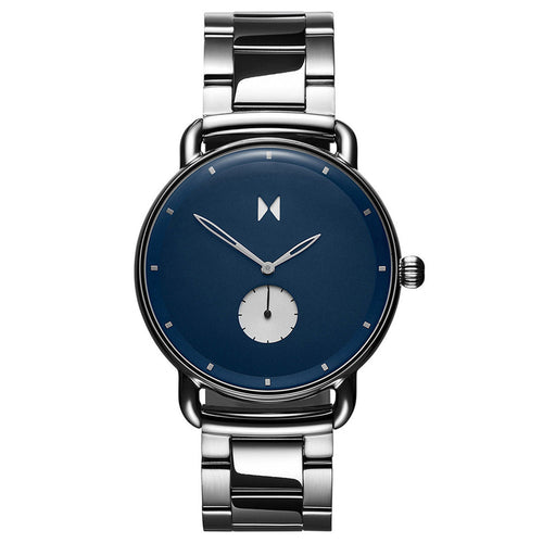 MVMT Mens Watch Revolver Opar Stainless Steel Band with Blue Face