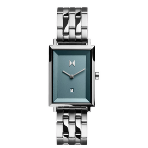 MVMT Signature Square Skylar Ladies Watch Silver band with blue face