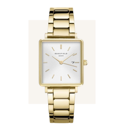 Rosefield Boxy White Sunray Steel Gold Watch