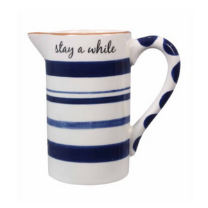 Blue & White Stay a While Jug