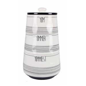 Black & White Stacking Yum Canisters Set of 3