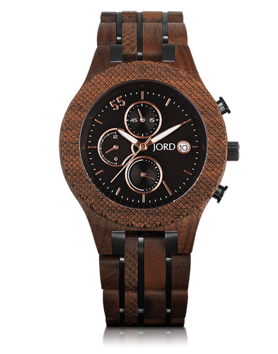 JORD - CONWAY Walnut & Jet Black Mens WOODEN Watch - Nasselquist Jewellers