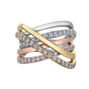 Tri Gold Wide Crossover Ring