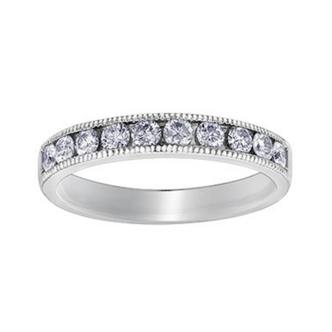 Chi Chi Collection - White Gold Diamond Band with Detail Edge
