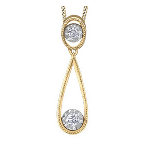 Illuminaire Long Tear Drop Pendant with Diamonds