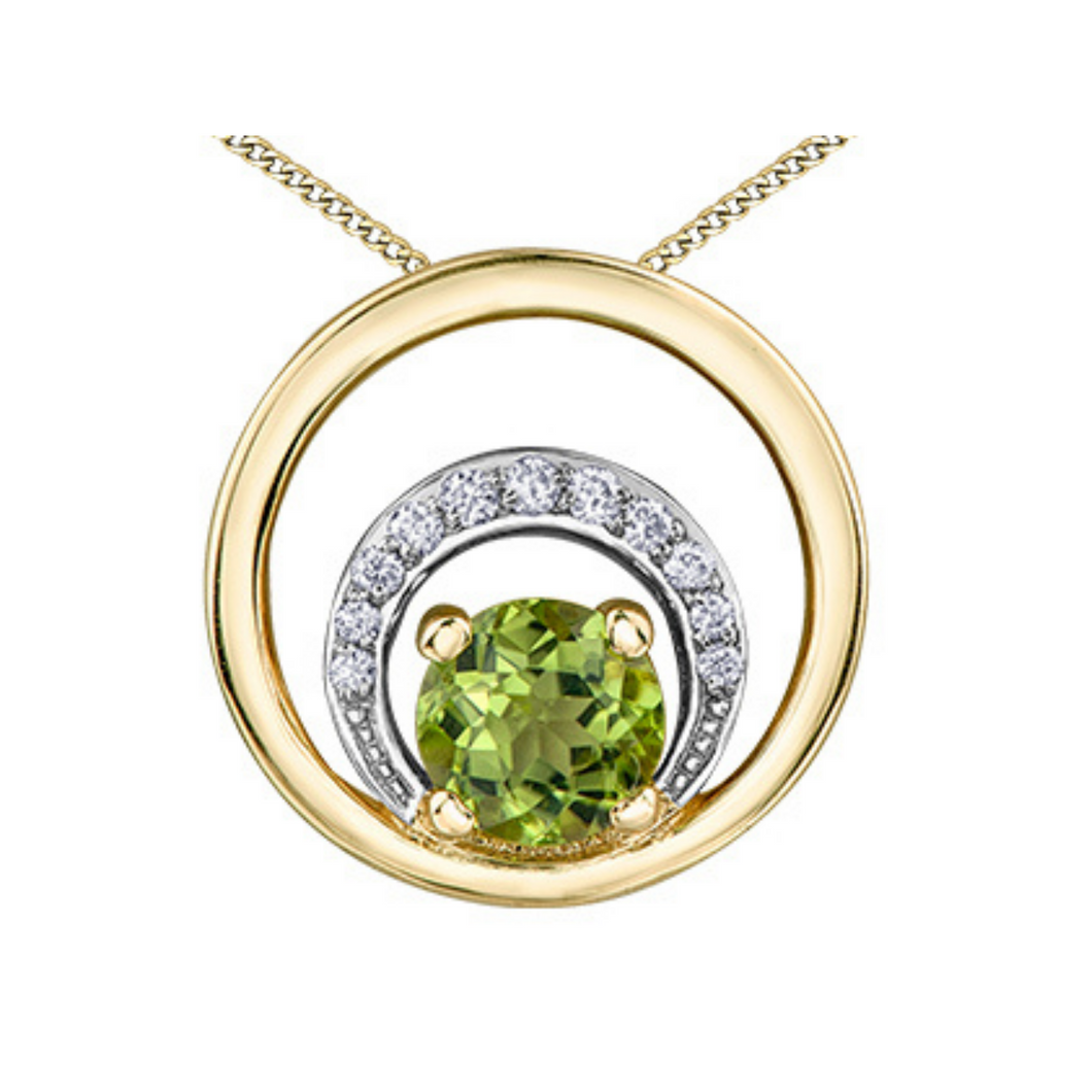 Peridot & Diamond Circle Pendant