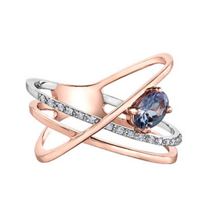 Tanzanite & Diamond Rose Gold Ring