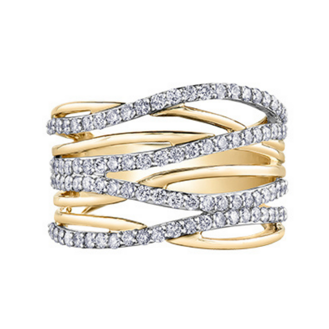 Diamond Envy Wide Crossover Diamond & Gold Ring