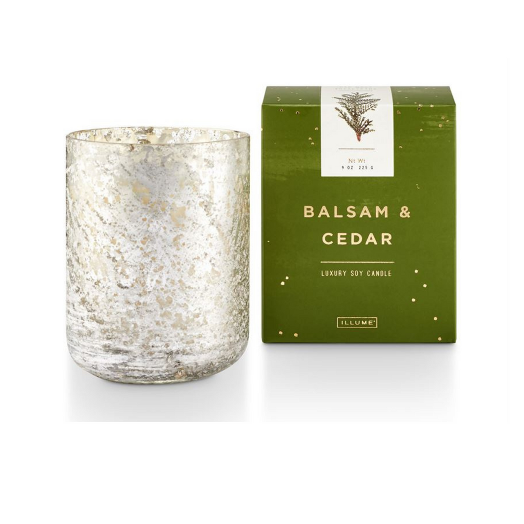 Illume Candles - Balsam & Cedar Small Luxe Sanded Mercury Glass