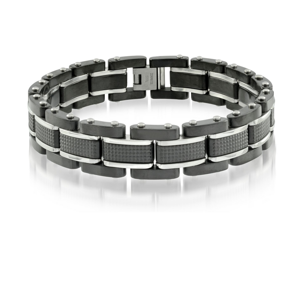 ITALGEM - Black Steel Polished Brushed Bracelet