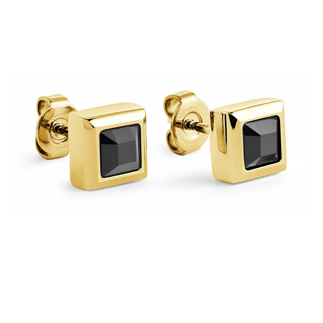 ITALGEM - Gold Plated Steel Square Earrings with Black Cubic