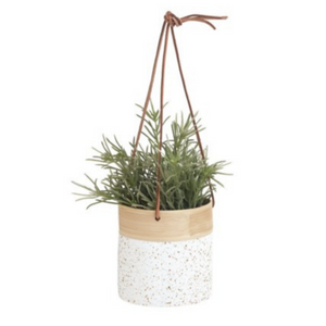 Hanging White & Gold Bamboo Planter