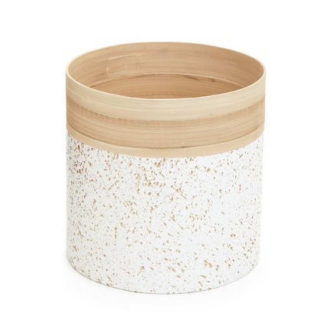 White & Gold Bamboo Planter