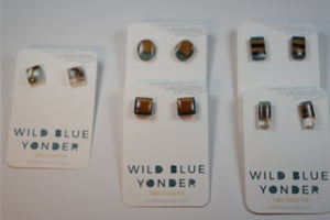 Wild Blue Yonder - Resign & Wood Stud Earring - Nasselquist Jewellers