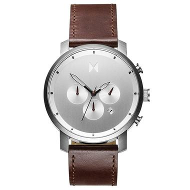 MVMT - Chrono SILVER BROWN LEATHER Mens Watch - Nasselquist Jewellers