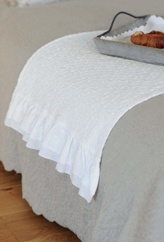 This 100% stone washed jacquard bed runner will give that romantic look to any bedroom. The double ruffles are on the 2 short sides. Matching pillows can be bought separately.