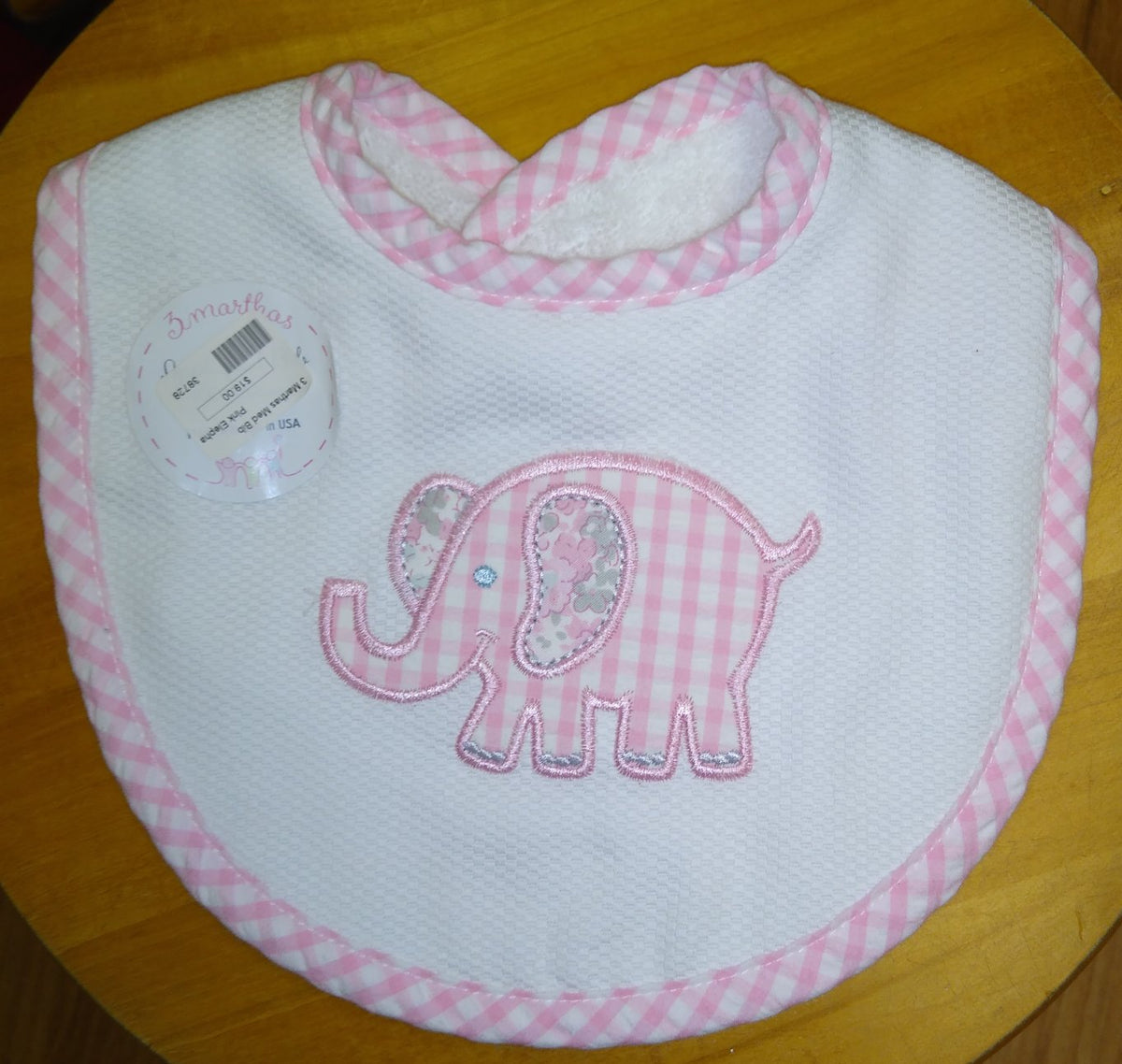3 Marthas Medium Bib Pink Elephant