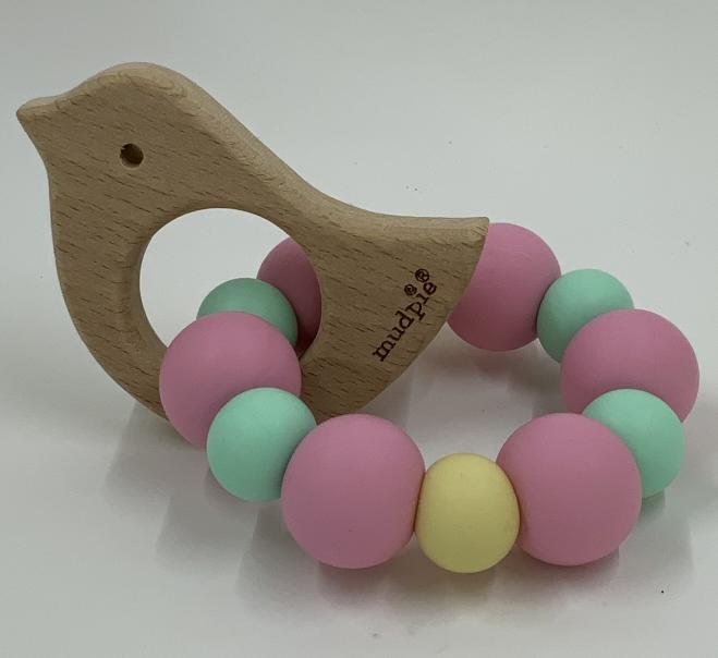 MPie Wood Teether Pink Chick