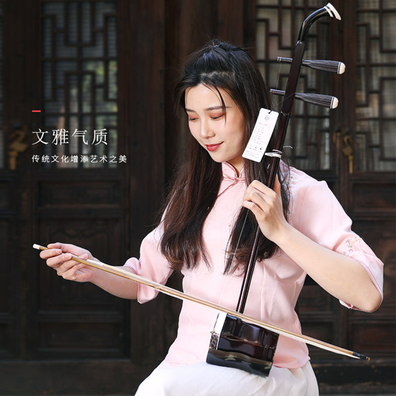 Chinese String Instrument Erhu Huqin Exclusive Engraved Code Chinese instruments folk Erhu with Rosin spare strings Bow and Book