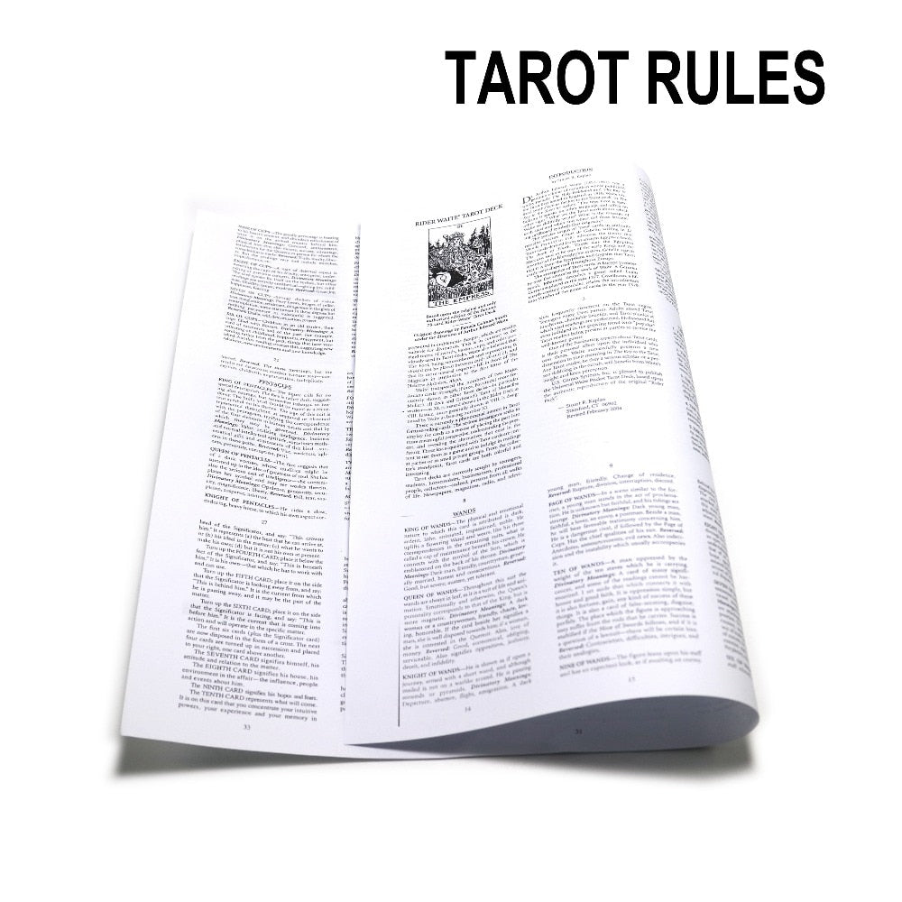 English generic tarot rules, guide book. for mysterious tarot cards,