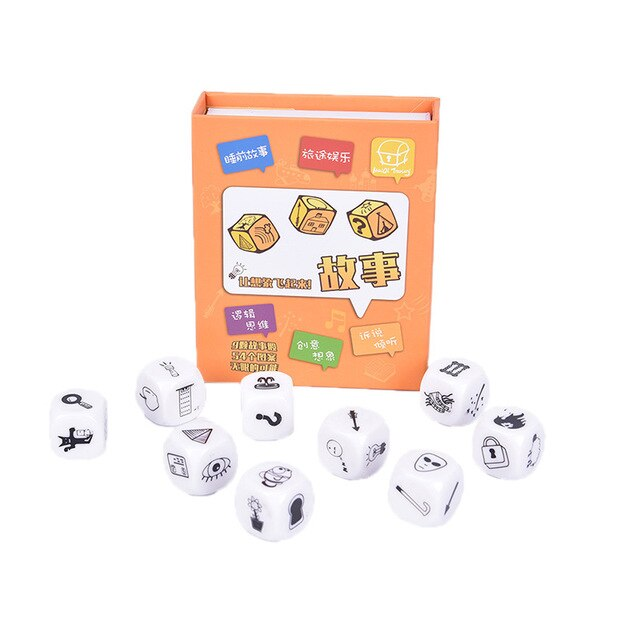 9Pcs/set Story Dice Puzzle Board Game Telling Story Book Family/Party/Friends Parents with Children Funny English Game