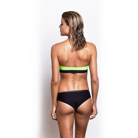 Zip Front Strapless Top - Acid Lime