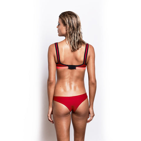 Double Strap Top - Red/Pink