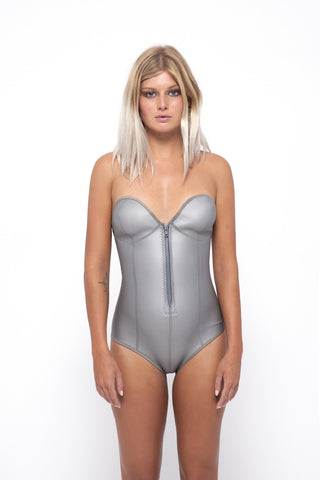Nikki Wonder Suit- Metallic Silver