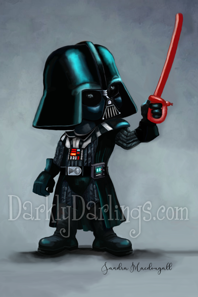 Darth Vader with a balloon lightsaber