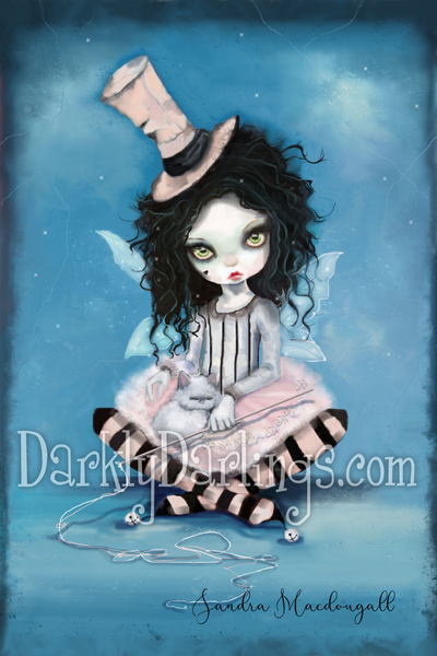 Creepy cute pink harlequin girl with white cat