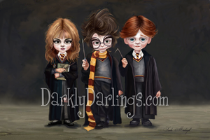 Cute Fan Art of Harry, Hermione, and Ron