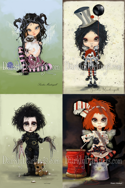 cute girl with kitty; creepy clown girl; Edward Scissorhands; little red head fixing her favorite doll