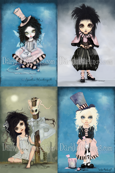Creepy cute pink harlequin girl with white cat; Lydia Deetz from Beetlejuice; sad little girl who had to make a friend; mad Alice painting the roses