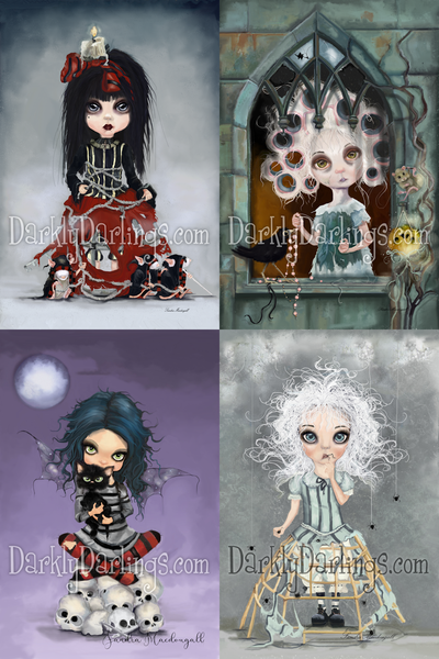 Cute and creepy victorian girl and her three blind mice; Cinderella getting ready for the ball; goth girl with striped stockings a black cat and skulls; girl with spiders and Victorian dress