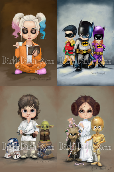 Harley Quinn relaxing in her jail cell; Cute Bat Family, little Batman, Batgirl, and Robin; Luke Skywalker, R2D2, Yoda; Princess Leia with Chewie and C3PO;