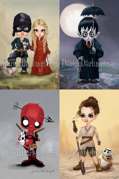 Princess Bride, Westly & Buttercup; Cute vampire Barnabas Collins; deadpool; strong little Rey