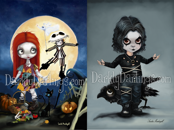 Cute and Creepy Jack and Sally fan art; Little Brandon Lee as The Crow