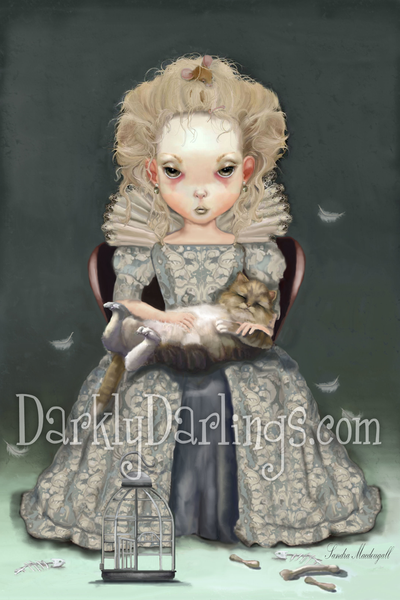 cute Elizabethan girl with her cat