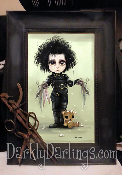 Cute Edward Scissorhands with ornate frame and vintage scissors