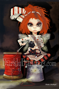 Little red head fixing her favorite doll