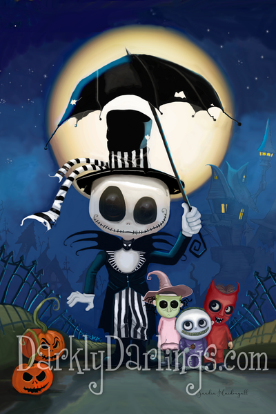 Jack Skellington, lock shock and barrel from nightmare before christmas
