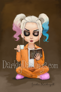 Cute Harley Quinn relaxing in her jail cell