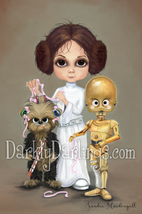 Princess Leia with Chewie and C3PO