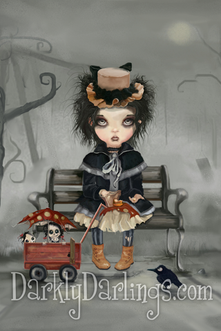 Little victorian gothic girl with her little dolls
