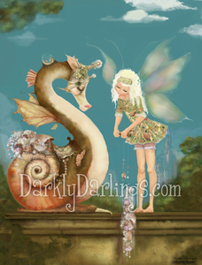 Fairy and seahorse