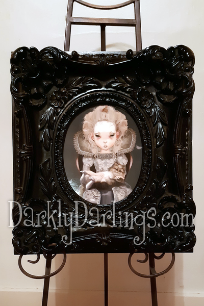 cute Elizabethan girl with her cat framed